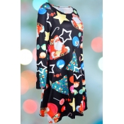 Lovely Christmas Day Printed Multicolor Knee Lengt