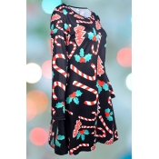 Lovely Christmas Day Printed Black Knee Length Plus Size Dress