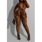 Lovely Trendy Leopard Printed Yellow Two-piece Pan