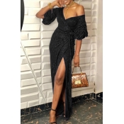 Lovely Party V Neck Side High Slit Black Ankle Len