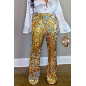 Lovely Casual Sequined Gold Pants