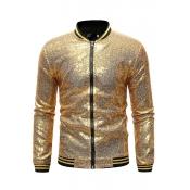 Lovely Casual Zipper Design Gold Jacket