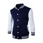 Lovely Casual Patchwork Navy Blue Jacket