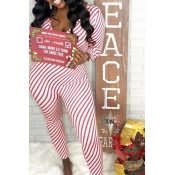 Lovely Casual Striped Skinny Red One-piece Jumpsui