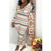 Lovely Casual Striped Skinny Multicolor One-piece