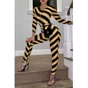 Lovely Trendy Striped Yellow One-piece Jumpsuit