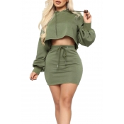 Lovely Casual Hooded Collar Crop Top Green Two-pie