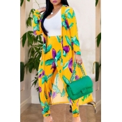 Lovely Bohemian Printed Yellow Two-piece Pants Set