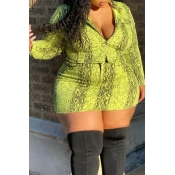 Lovely Casual Printed Green Plus Size Two-piece Sk