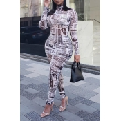 Lovely Street Turtleneck Printed White Two-piece P