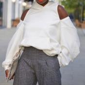 Lovely Casual O Neck Zipper Design White Hoodie