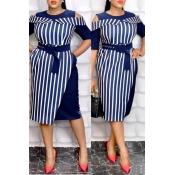 Lovely Work Striped Dark Blue Knee Length Dress