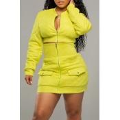 Lovely Casual Zipper Design Yellow Two-piece Skirt
