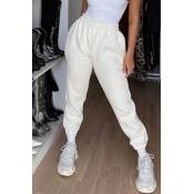 Lovely Casual Basic White Pants
