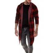 Lovely Casual Plaid Long Red Cardigan