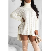 Lovely Casual Turtleneck White Mini Dress