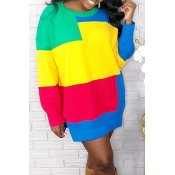 Lovely Trendy Color-lump Patchwork Multicolor Mini