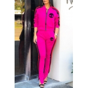 Lovely Leisure Zipper Design Rose Red Two-piece Pa