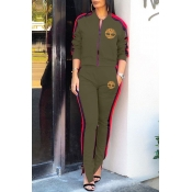 Lovely Leisure Zipper Design Army Green Two-piece