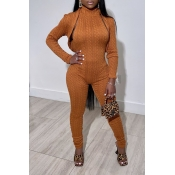 Lovely Trendy Skinnny Brown Two-piece Pants Set