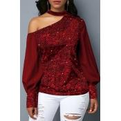 Lovely Stylish Dew Shoulder Patchwork Red Blouse