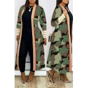Lovely Casual Camo Print Long Coat