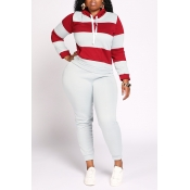 Lovely Casual Striped Patchwork Grey Plus Size Two