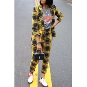 Lovely Casual Turn-back Collar Plaid Yellow Two-pi
