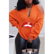 Lovely Chic Halter Lip Printed Orange Sweater