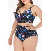 Lovely Printed Black Plus Size Two-piece Swimwear