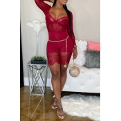 Lovely Sexy See-through Patchwork Red One-piece Ro