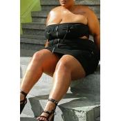 Lovely Trendy Dew Shoulder Black Plus Size Two-pie