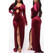 Lovely Party Side High Slit Wine Red Evening Dress