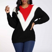 Lovely Trendy O Neck Color-lump Patchwork Black Sw