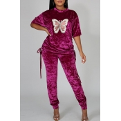 Lovely Casual Butterfly Purple Two-piece Pants Set