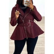 Lovely Casual Zipper Design Wine Red Coat(With Bel