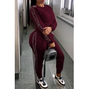 Lovely Casual O Neck Patchwork Wine Red Two-piece Pants Set