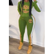 Lovely Casual Hooded Collar Printed Army Green Two-piece Pants Set