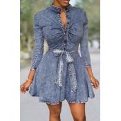 Lovely Sweet Lace-up Blue Mini Dress