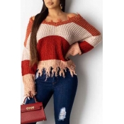 Lovely Casual V Neck Tassel Design Wine Red Sweate