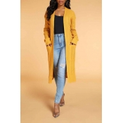 Lovely Chic Pocket Patched Yellow Cardigan