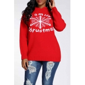 Lovely Christmas Day Hooded Collar Letter Red Swea