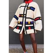 Lovely Trendy Color-lump Multicolor Coat