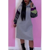 Lovely Casual Hooded Collar Patchwork Grey Knee Le