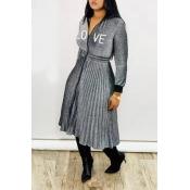 Lovely Sweet Ruffle Design Grey Mid Calf Dress