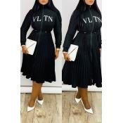 Lovely Sweet Ruffle Design Black Mid Calf Dress