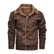 Lovely Casual Buttons Design Brown Leather