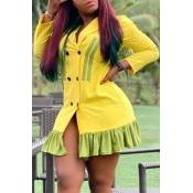 Lovely Sweet Patchwork Yellow Mini Dress