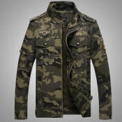 Lovely Casual Camouflage Print Army Green Jacket