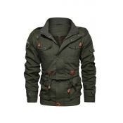 Lovely Casual Buttons Design Army Green Jacket
